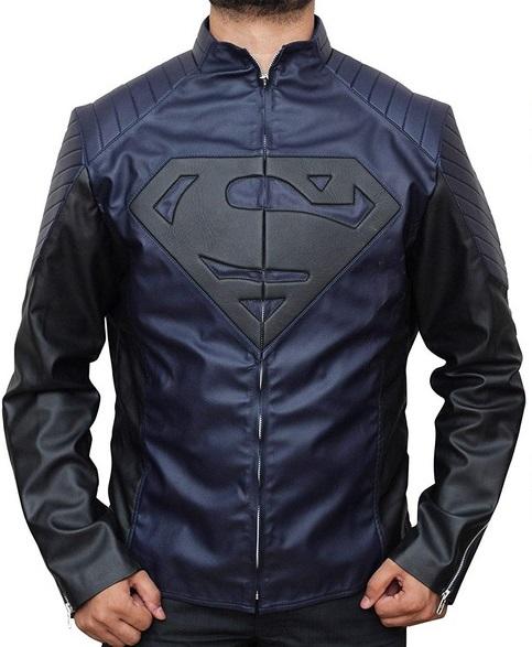 Superman Man Of Steel Metallic Blue Leather Jacket