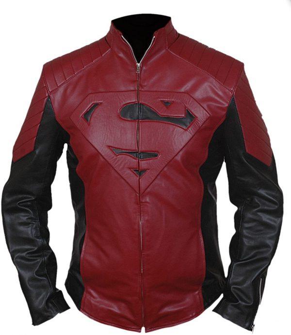 Men's Smallville Maroon Leather Biker Jacket