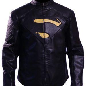 Superman Black & Yellow Leather Jacket