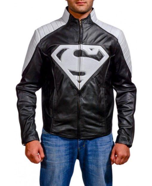 superman black and white leather jacket