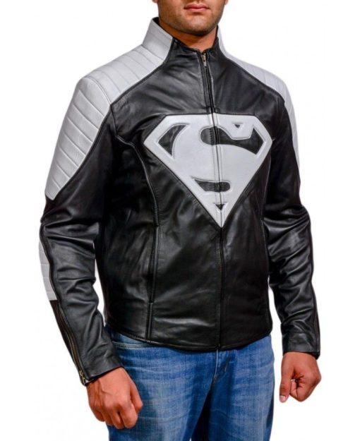 superman logo leather jacket