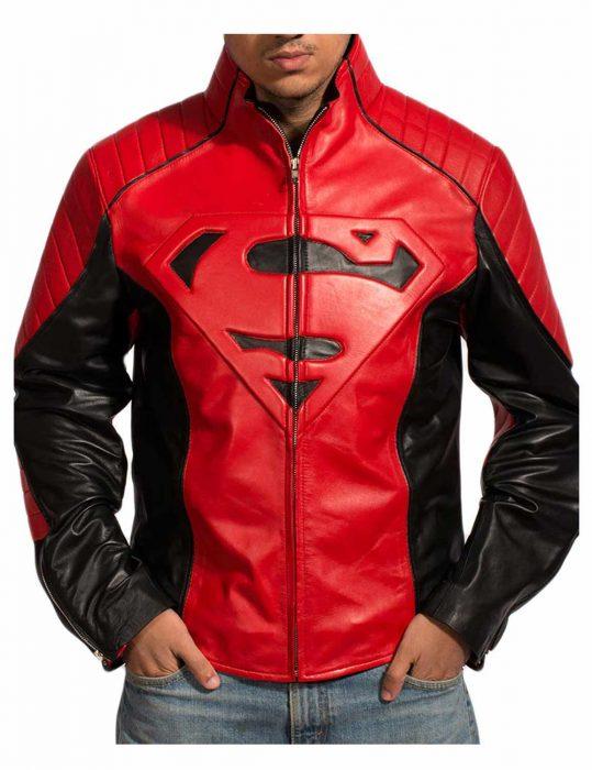 Superman Smallville Red & Black Leather Jacket